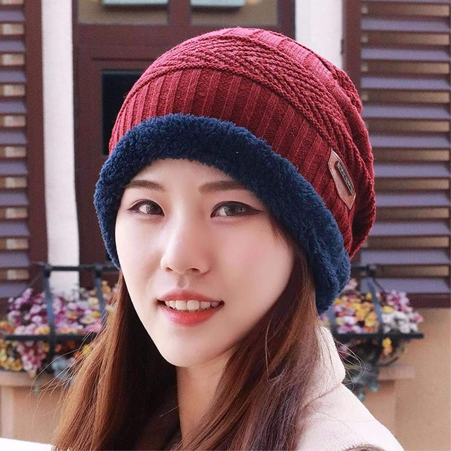 Beach Hat Hat Men and Women Fall Winter Thick Warm Wool Cap Knitted Cap Winter Outdoor Youth Ear Baotou Cap Couple Summer Sun Hat (color   The Red)