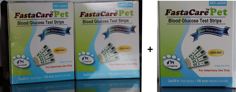 3 Packs of FastaCare Pet  Blood Glucose Test Strips + Lancets (3 x50's)