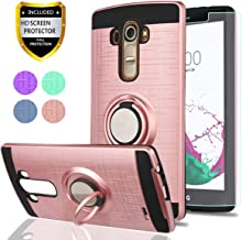 LG G4 Case, LG G4 Phone Cases with HD Phone Screen Protector,YmhxcY 360 Degree Rotating Ring & Bracket Dual Layer Resistant Back Cover for LG G4 (5.5