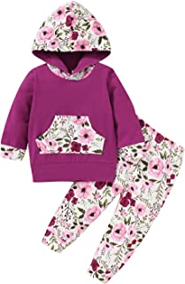 2pcs Infant Toddler Baby Girl Fall Sweatshirt Kangaroo Pocket Floral Hoodie Tops Pants Winter Clothes Set