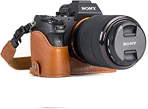 MegaGear Sony Alpha A7S II, A7R II, A7 II Ever Ready Leather Camera Half Case and Strap, with Battery Access - Light Brown - MG1125