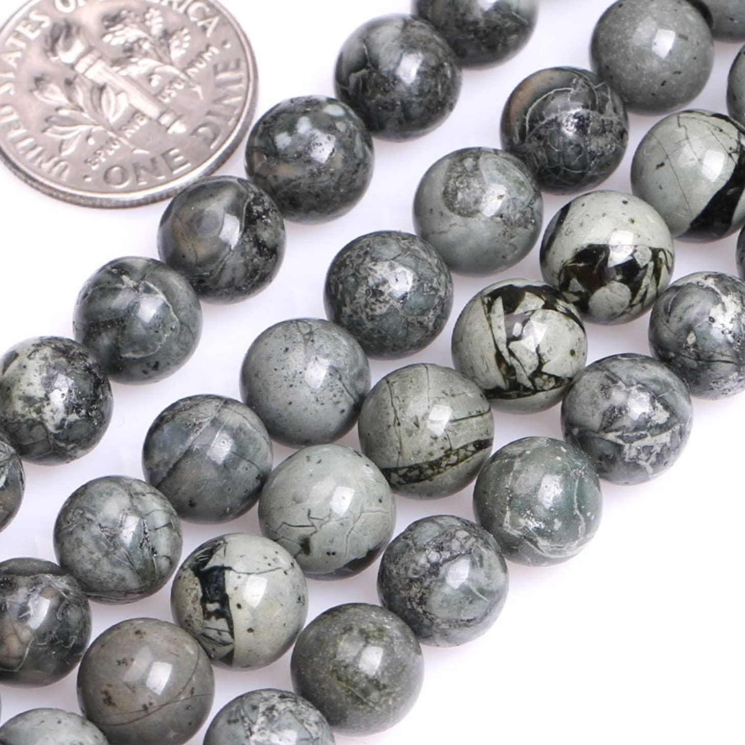 GEM-inside Natural Genuine 8mm Round Gray Green Strip Jasper Beads for Jewelry Making Strand 15