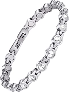 Magnetic Bracelet for Women,Beauty Therapy Titanium Steel Magnetic Bracelets Pain Relief Bracelets Magnetic Clasp Women Free Link Removal Tool (White) …