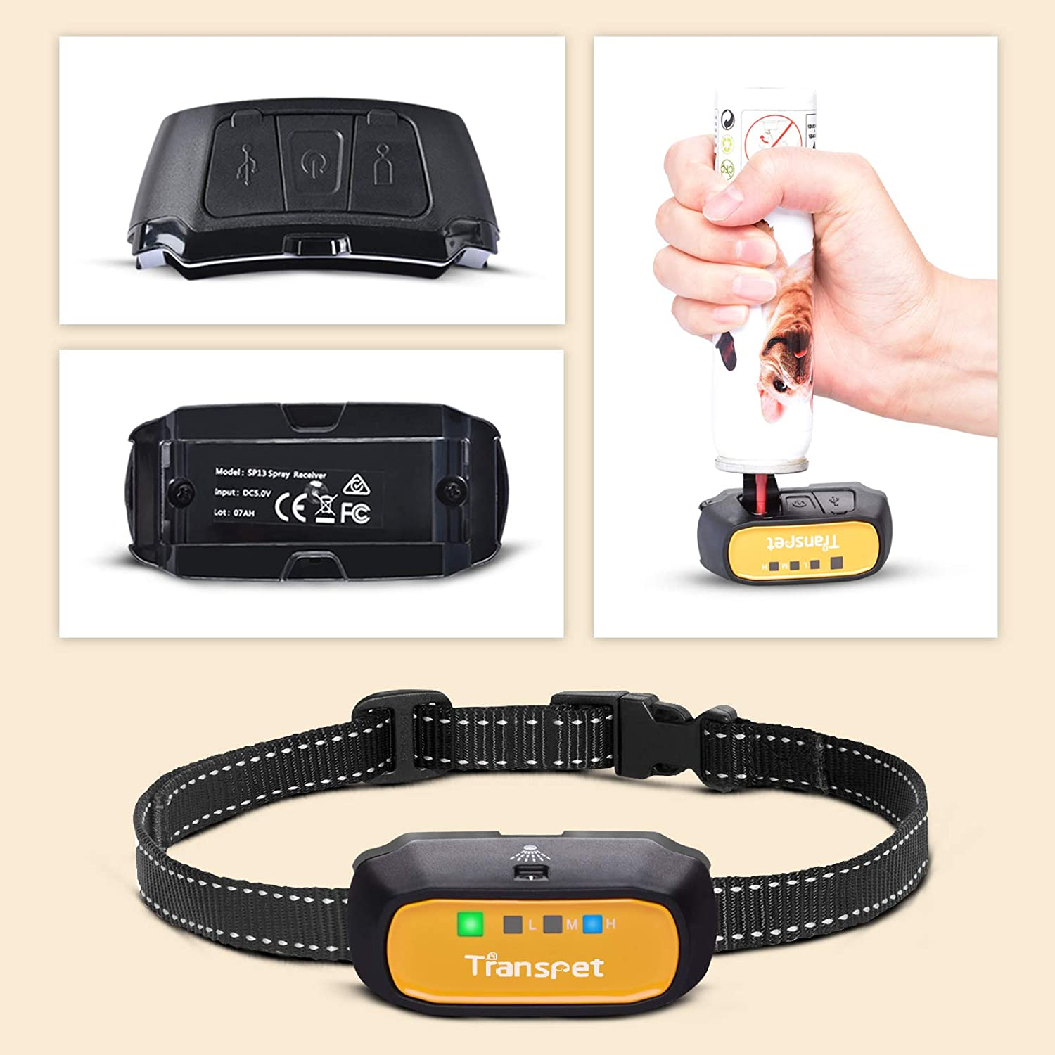 not Include Citronella Spray 150 Meters Range Spray Dog Training Collar with Harmless Remote//Auto Stop Barking Device Transpet Anti Barking Dog Collars USB Rechargeable