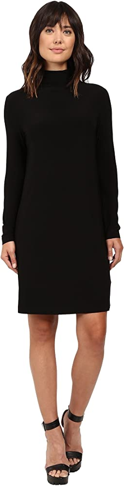 KAMALIKULTURE by Norma Kamali Long Sleeve Turtleneck Dress To Knee