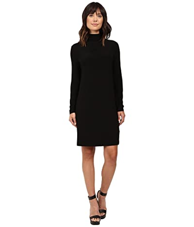 KAMALIKULTURE by Norma Kamali Long Sleeve Turtleneck Dress To Knee (Black) Women