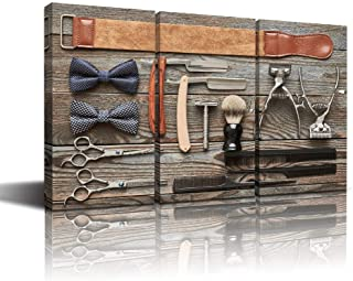 sechars - Modern Canvas Painting Wall Art Vintage Classic Barber Shop Tools on Old Wooden Background Picture Prints Artwork Great Gift for Barbers or Barber Shops Framed -16