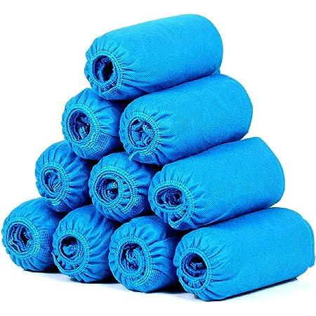 SGODDE 100 pezzi Copriscarpe Monouso Impermeabili, Copriscarpe in Tessuto Non Tessuto Impermeabile per Calzature da Interno/Esterno, Impermeabili, Anti-fango, Riciclabili (Taglia 34-46, Blu)