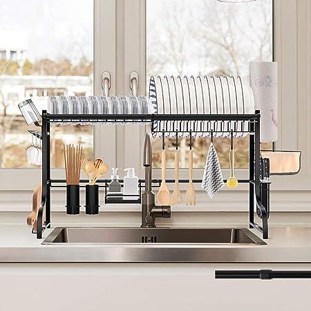 QIMHUI キッチンラック 水切り シンク上 長さ調整可能 (54-97cm) 2段式 水切り かご みずきりラック 皿乾燥ラック キッチン 棚 水が自動で流れる 省スペース 有効活用多機能 日本語取扱説明付