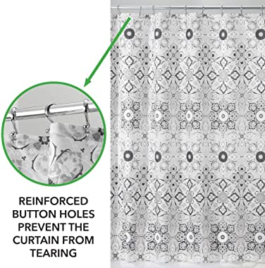 mDesign Decorative Medallion Print, Easy Care Fabric Shower Curtain with Reinforced Buttonholes, for Bathroom Showers, Stalls