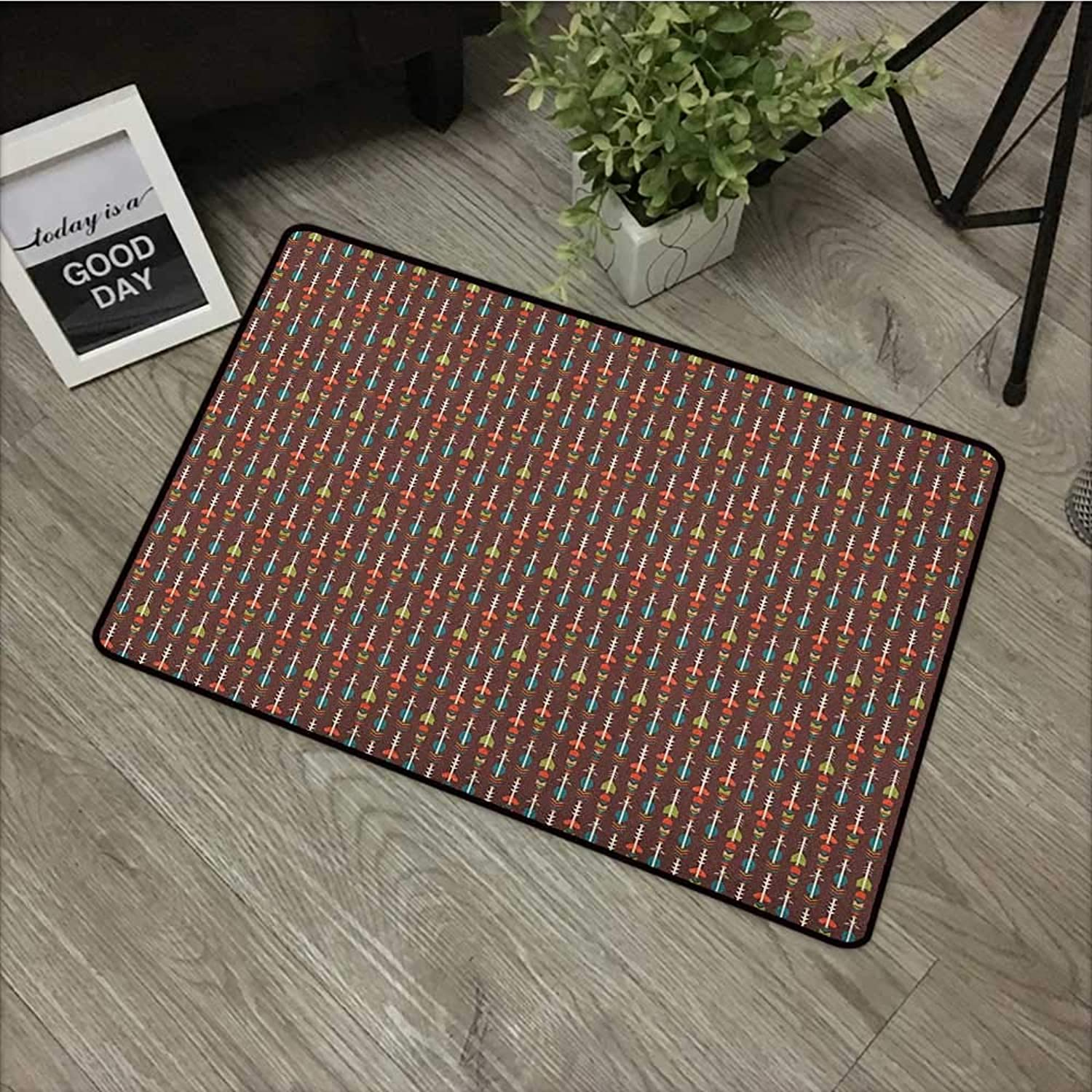 Bathroom mat W31 x L47 INCH Arrow,Ethnic colorful and Abstract Figures with Artistic Geometric Design on Brown Backdrop, Multicolor Easy to Clean, no Deformation, no Fading Non-Slip Door Mat Carpet