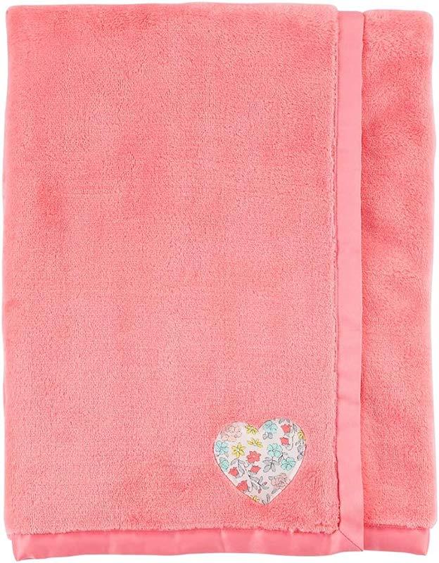 Carter S Baby Girl Plush Heart Blanket Pink