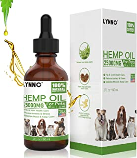 LYNNC Hemp Oil for Dogs Cats - 25000 MG - Pet Hemp Oil - Support Hip & Joint Health, Separation Anxiety, Omega-3, 6, 9