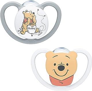 NUK NUK Space Schnuller | 0–6 Monate | Schnuller mit extra Belüftung | BPA-freies Silikon | Disney Winnie Puuh | 2 Stück