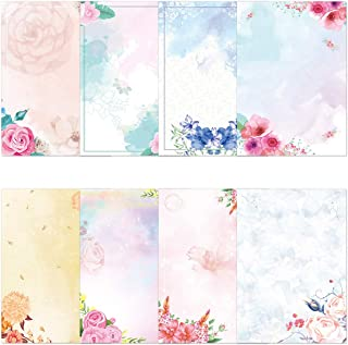 Watercolor Stationary Paper and Envelopes Set Pack of 48 Double Sided Printing Japanese Stationery Paper Set Floral Letter...