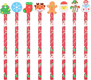 Tomaibaby 24 Pcs HB Pencils Christmas Pencils with Eraser Topper Cute Cartoon Kids Wooden Pencils for Prize for Kids, Part...