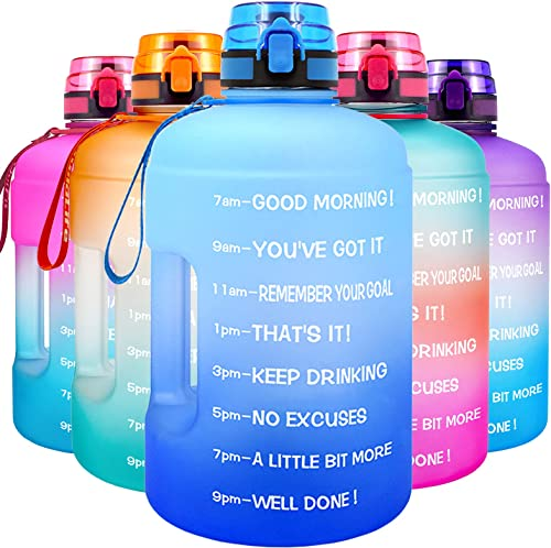 QuiFit Motivational Gallon Water Bottle - with Time Marker & Infuser & Flip Top Leak-Proof Reusable Water Jug for Fit...