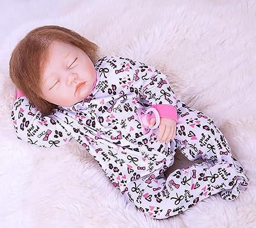 O-YMS Reborn Babys Puppe 20Zoll 5cm Weißes Silikon Vinyl Magnetisch mädchen Augen Geschlossen lebensecht Baby Dolls Kinderspielzeug