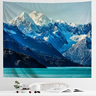 IcosaMro Snow Mountain Tapestry Wall Hanging, Nature Sky Lake Sun Cloud Landscape Scenery Nature Wall Art [Double-Folded Hems] Home Decor for Bedroom, Dorm, College, Living Room, 60x82.7, Blue