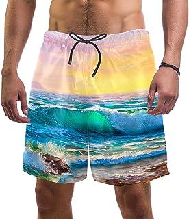 henghenghaha Mens Swim Shorts Waterproof Quick Dry Beach Shorts with Mesh Lining,Sea Wave