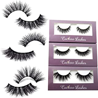 Cuckoo False Lashes 3D Faux Mink Eyelashes Korean PBT Fiber Silk False Eyelashes 3 Pairs per Set Multipack Package for Daily Makeup