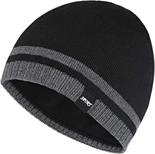 Bodvera Mens Winter Beanie Hat Warm Knit Cuffed Plain Toboggan Ski Skull Cap 4 Pattern