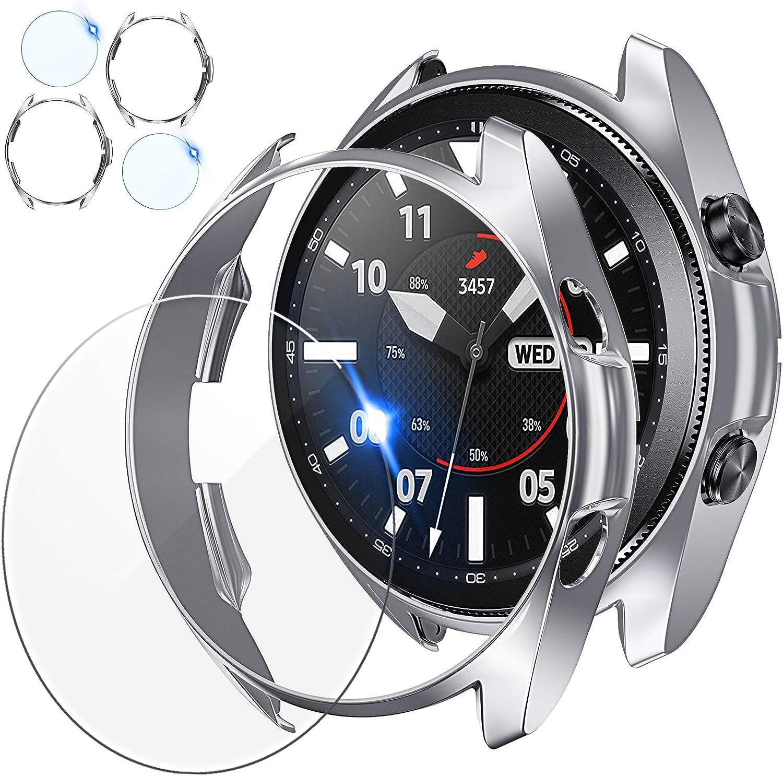 2 Protector Pantalla + 2 Funda Para Galaxy Watch3-41mm plata