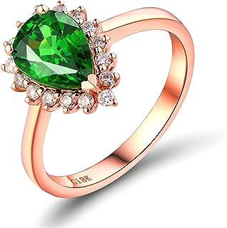 Daesar Anelli Amicizia Oro Rosa 18K, Anello Matrimonio Donna Anello Tsavorite 1.3ct Goccia D'Acqua Anello in Oro Rosa