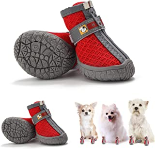 Hcpet Breathable Pet Dogs Shoe TPR Rubber Outsole Non-Slip Waterproof Durable Small Dog Booties with Zipper 4PCS/Set (Red-...
