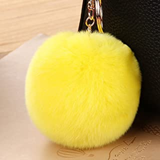 Korea Cute Hairball Key Chain Bag Pendant Car Key Pendant Bag Key Chain Female Key Chain (Color : Yellow)