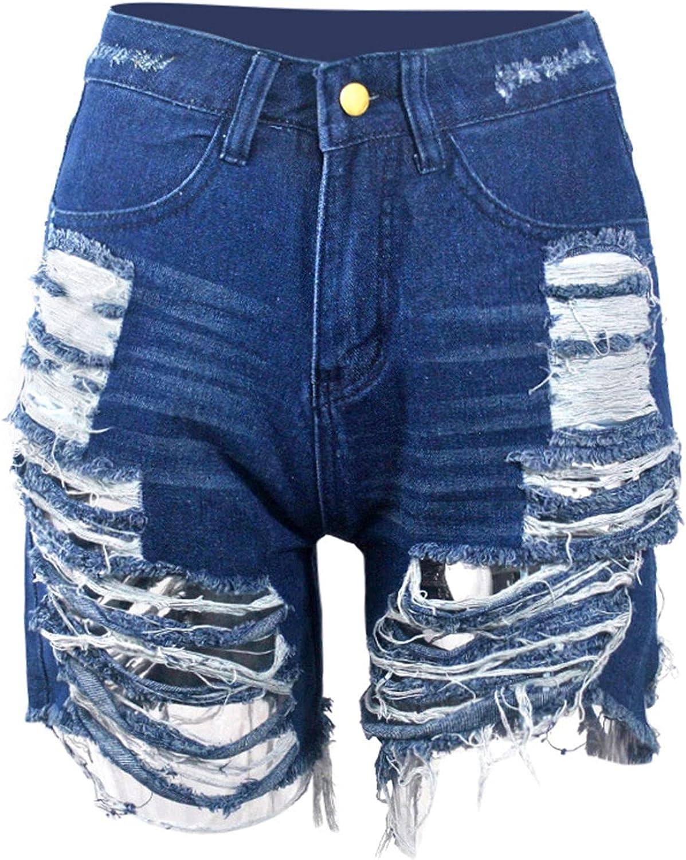 Trust Women Summer Frayed Ripped Bermuda Denim Shorts mart Distressed Jeans