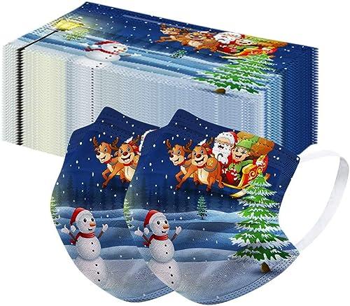 10 Pcs Disposable_Faceṁɑşḱ for Adults,Christmas Printed 3-Layer Elastic Ear Loops Breathable Fashion Full Face Bandanas