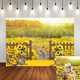 Autumn Sunflower Field Photography Backdrop Rustic Autumn Morning Wooden Floor Fence Gate Background Happy Birthday Party Decorations Banner for Kids 7x5ft