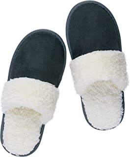 riemot Mens Womens Slipperss, Ladies Memory Foam Fluffy Slipperss, Fur Collar Fleece Lined House Slipperss, Winter Warm In...