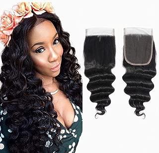 9A Peruvian Loose Deep Wave Closure, (4x4 10inch) 100% Virgin Human Hair Free Part Top French Lace Closure Bleached Knots 130% Density Natural Black Hair Extension