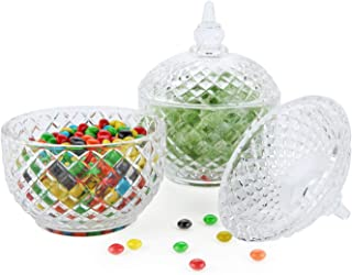 ComSaf Glass Candy Dish with Lid Decorative Candy Bowl, Crystal Covered Storage Jar, Set of 2(Diameter:3.7 Inch)