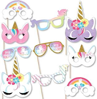 Big Dot of Happiness Rainbow Unicorn Glasses & Masks - Paper Card Stock Magical Unicorn Baby Shower or Birthday Party Photo Booth Props Kit - 10 Count