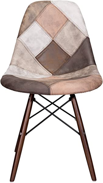 Mooku Brown Patchwork Leatherette Fabric Upholstered DSW Dining Side Accent Chair With Dark Walnut Leg