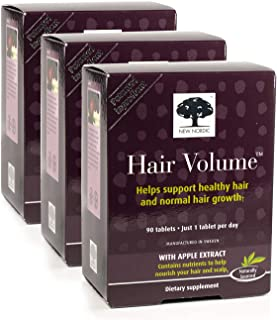 New Nordic Hair Volume w/Apple Extract, 90 Tablets Pack of 3