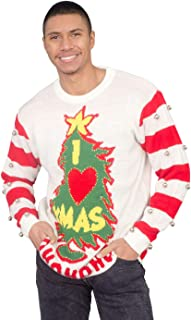 I Love Xmas HOHOHO Light Up (LED) and Bells on Sleeve Ugly Christmas Sweater