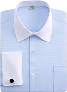 Men's French Cuff Dress Shirts Regular Fit Long Sleeve Spead Collar Metal Cufflink