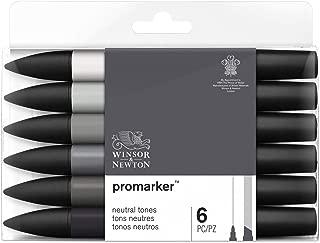 Winsor & Newton 0290154 Promarker, Set of 6, Neutral Tones