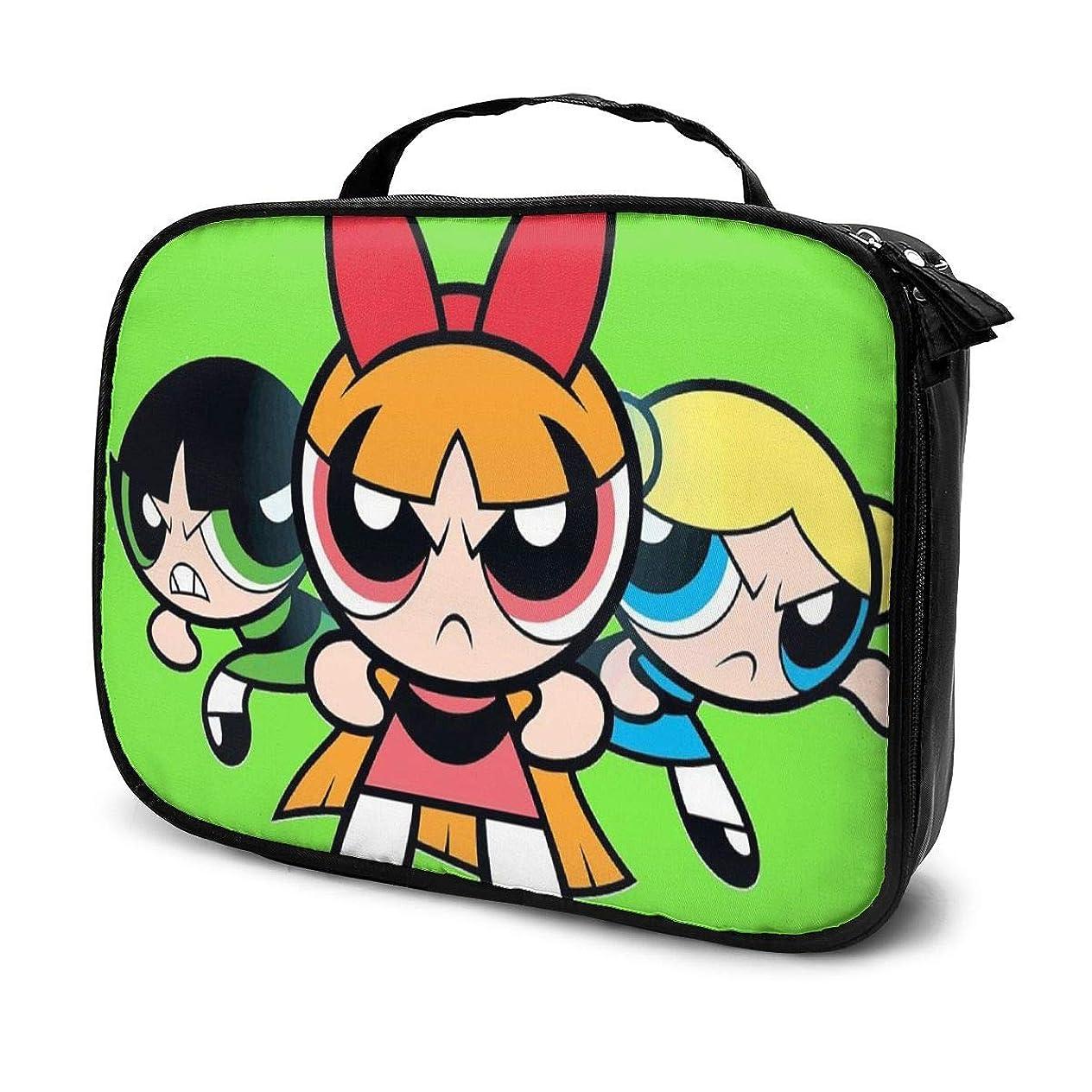 大宇宙濃度回るDaituパワーパフガールズ 化粧品袋の女性旅行バッグ収納大容量防水アクセサリー旅行