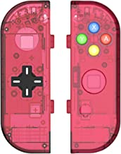 BASSTOP Translucent NS Joycon Handheld Controller Housing with D-Pad Button DIY Replacement Shell Case for Nintendo Switch Joy-Con (L/R) Without Electronics (Joycon D-Pad-Watermelon Red)