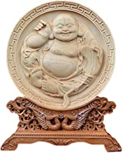 Natural Boxwood Carved Fengshui Folding Screen Salver Statue (Laugh Maitreya Buddha)