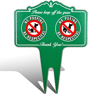 No Peeing/Pooping Be Respectful Dog Sign, HISVISION Stop Dogs from Pooping and Peeing On Your Lawn, Politely Reads Please Be Respectful- DiBond Metal Reflective Yard Sign Protect Your Grass & Property