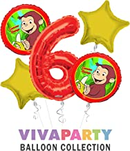 Curious George Balloon Bouquet 5 pc, 6th Birthday, | Viva Party Balloon Collection