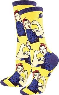 Socksmith Women's 'Rosie The Riviter' Print Socks, Rosie Yellow, Women's Size 9-11, fits shoe sizes 6-10.