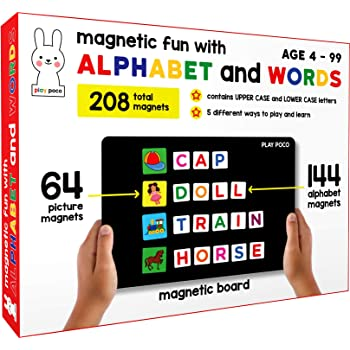 Play Poco Magnetic Fun with Alphabet and Words - with 64 Picture Magnets, 144 Letter Magnets, Magnetic Board and Spelling Guide