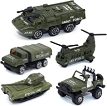 Army Vehicle Toy Set Diecast Military Model Cars Metal Army Playset Helicopter Tank Truck Jeep Armored Car for Kids - 5 Pieces